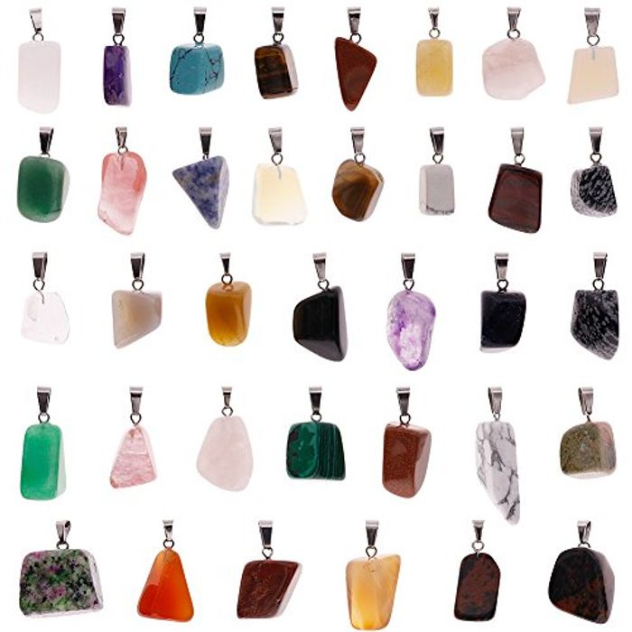 JuanYa 60 Pieces Irregular Healing Gemstone Pendants FREE DELIVERY