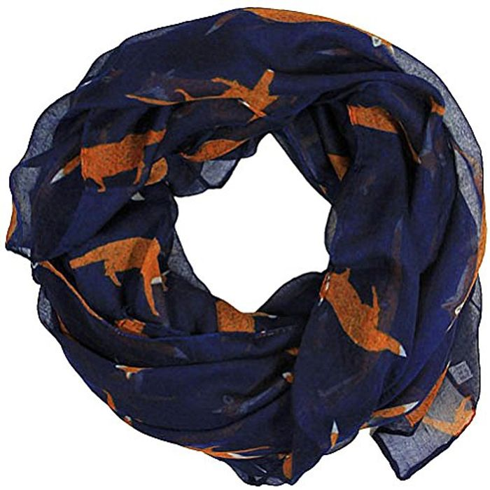Women Scarves Fox Print Large Lightweight Scarf Shawl Wrap (Navy) FREE DELIVERY