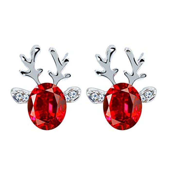 Gemstone Earrings Luxury Christmas Reindeer Antler Earrings
