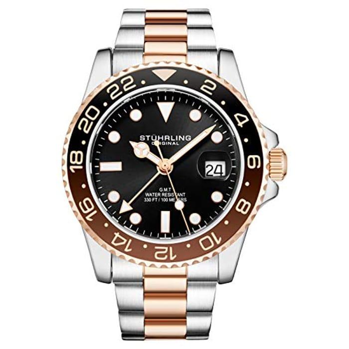 Stuhrling Original Mens Stainless Steel Triple Row Bracelet GMT Watch -