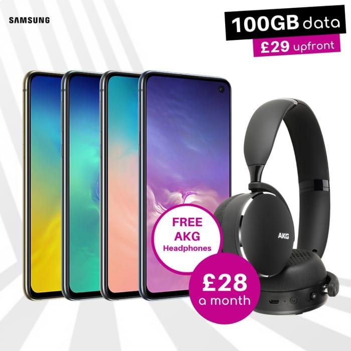 Samsung S10e 100GB Data UNLTD Calls & Text + Free AKG Headphones - £28 P/m