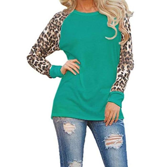 Women Casual O-Neck Leopard Patchwork T-Shirt