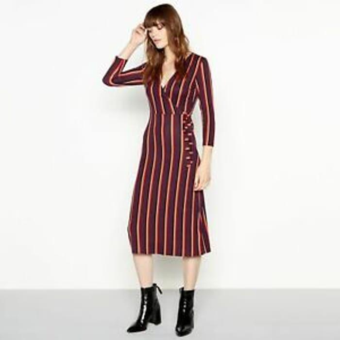 Red Herring Womens Stripe Print Wrap Midi Dress 10