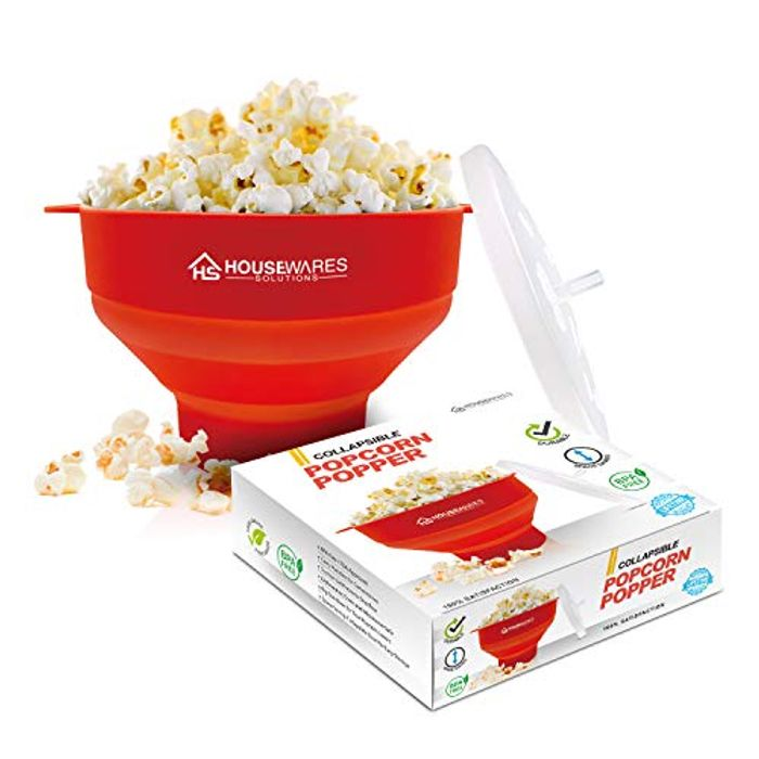 Collapsible Silicone Microwave Hot Air Popcorn Popper Bowl MONEYBACK GUARANTEE