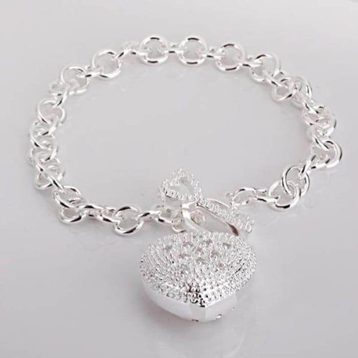 Beautiful Silver Jewelry Heart Bracelet