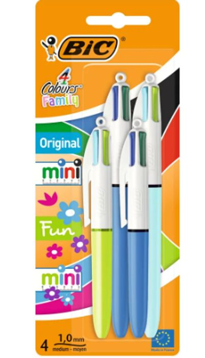 Bic Cristal Grip Ballpoint Pens Assorted Colours 4 Pack