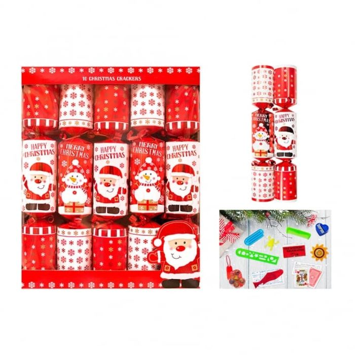 10 Red Santa Snowman Family Crackers save £1.99
