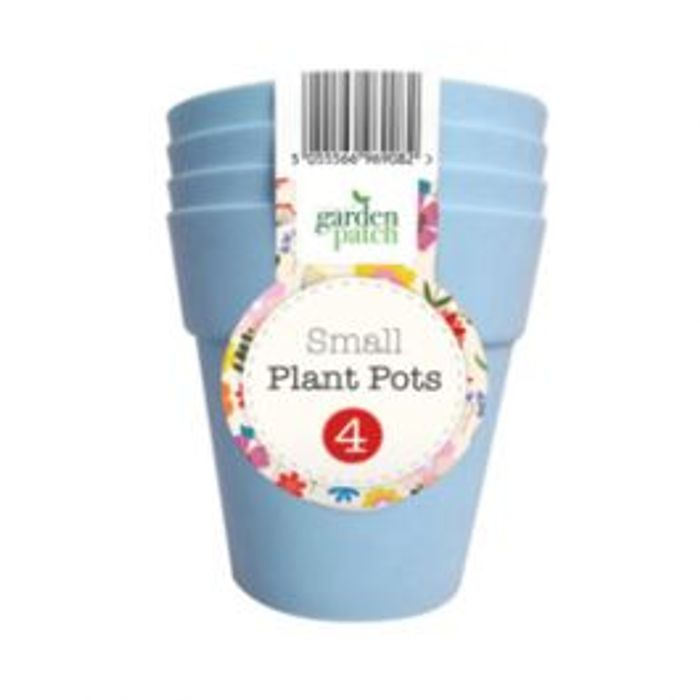 Small Plant Pots 4 Pack Blue *Lilac Also Available