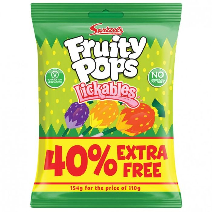 Swizzels Fruity Pops Lickables 110g + 40% Free