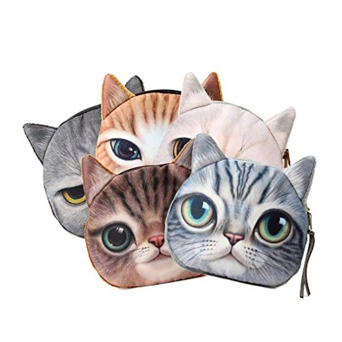 Flada Women Girls Cute Cat Face Small Purse Series 5 Pcs FREE DELIVERY