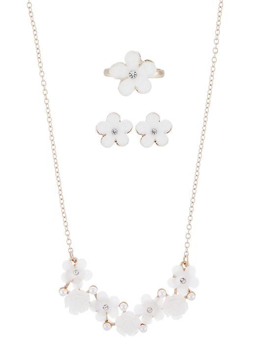 Monsoon PEARLY FLOWER CLUSTER JEWELLERY SET