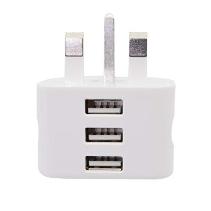 Compact and Portable 3-Port UK Mains Power Adapter for USB Cables.