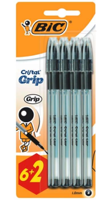 Bic Cristal Grip Black Ballpoint Pens 8 Pack