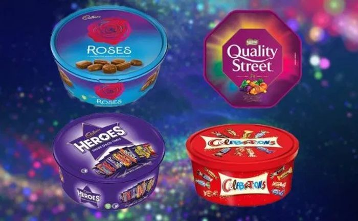 From 9/9 Chocolate Tubs £3.50 - Celebrations, Heroes, Quality Street & Roses