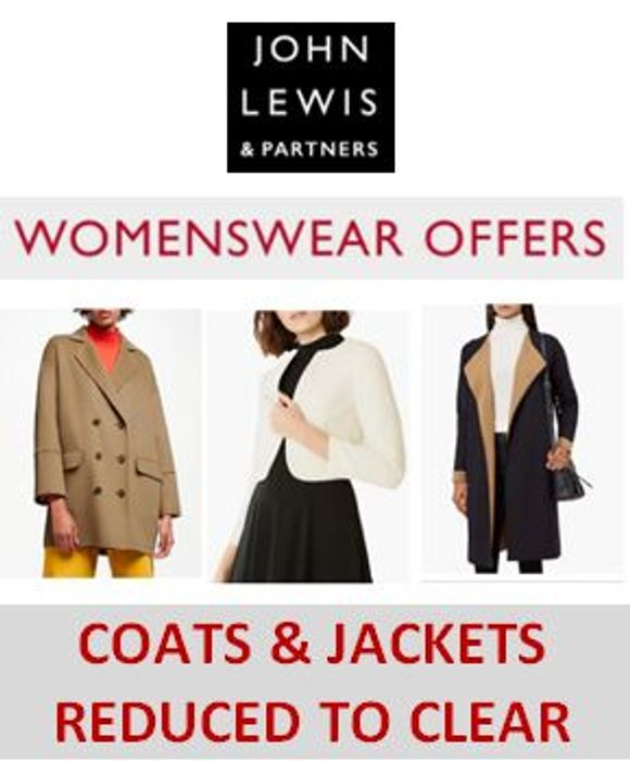 Special Offer COATS & JACKETS GOING CHEAP - REDUCED to CLEAR at John Lewis