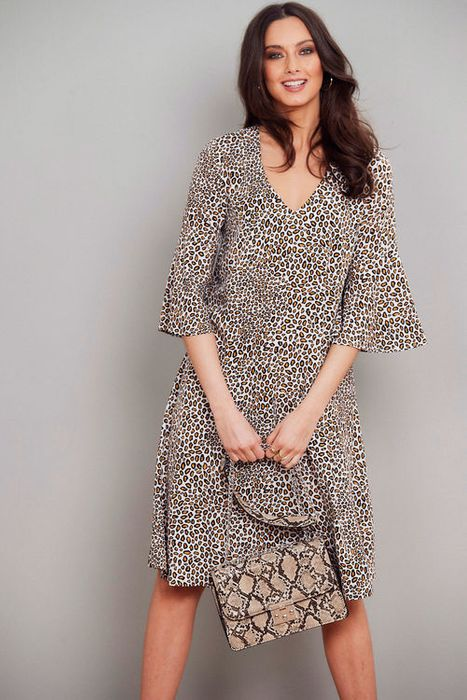 Salvari Leopard Print Ruffle Dress
