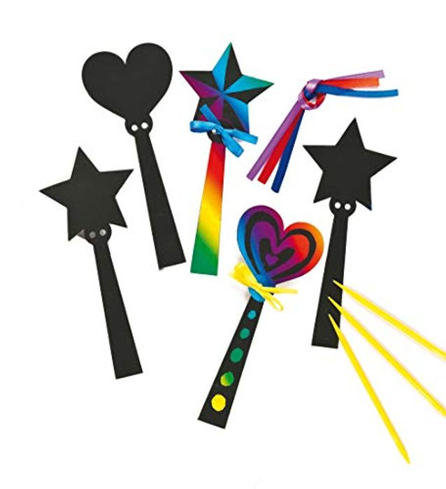 Baker Ross Magic Wand Scratch Art Bookmarks (Pack of 12) for Kids