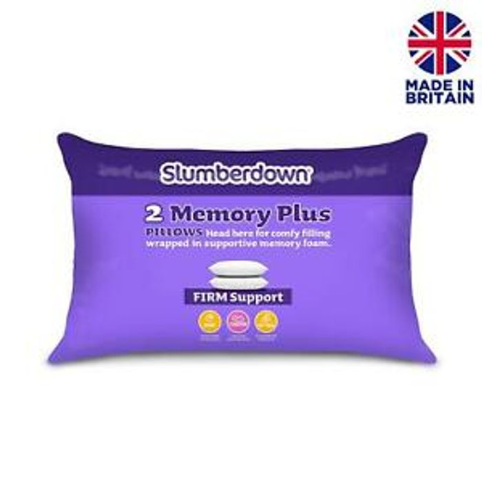 Slumberdown Memory Foam Firm Support Pillow - 2 Pack