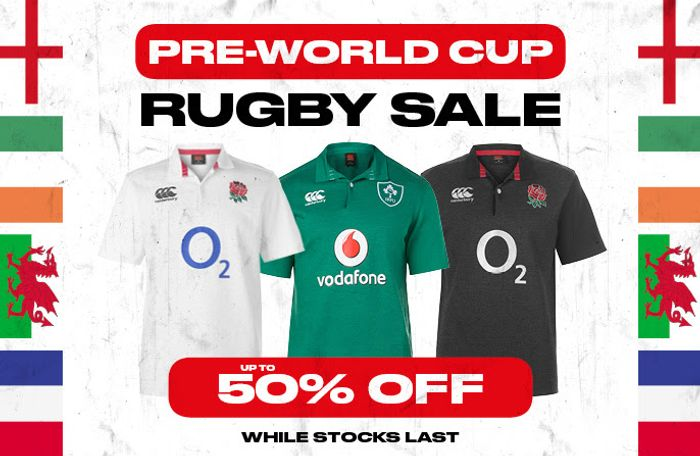 Pre-World Cup Rugby Sale. up to 50% off at Sports Direct.
