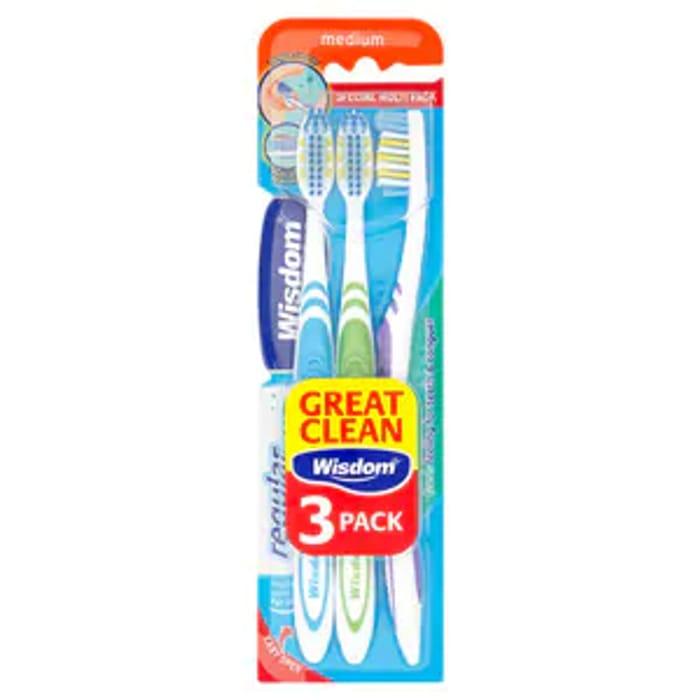 Wisdom Regular Fresh Toothbrush Medium Triple Pack