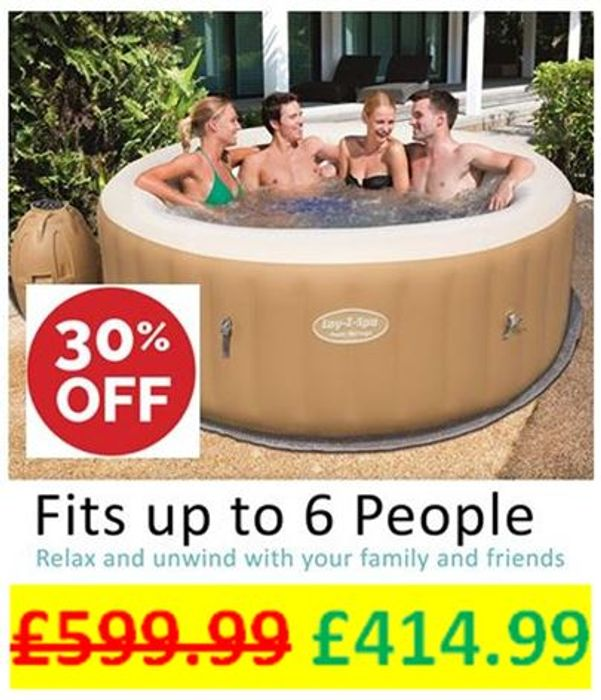 Lay-Z-Spa Palm Springs Hot Tub, AirJet Inflatable Spa, 4-6 Person