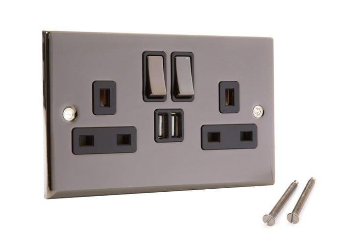 Wall Socket with Built in 2xUSB Charging Ports (Nickel) Half Price