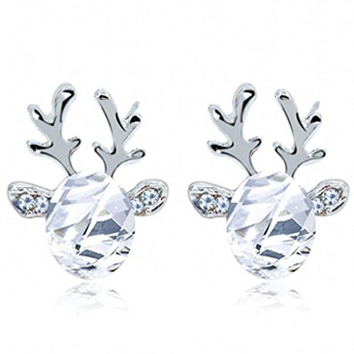 Luxury Three Dimensional Christmas Reindeer Earrings (White)