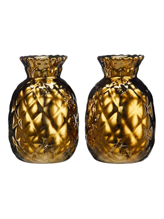 John Lewis & Partners Pineapple Salt and Pepper Shakers, Set of 2, Gold