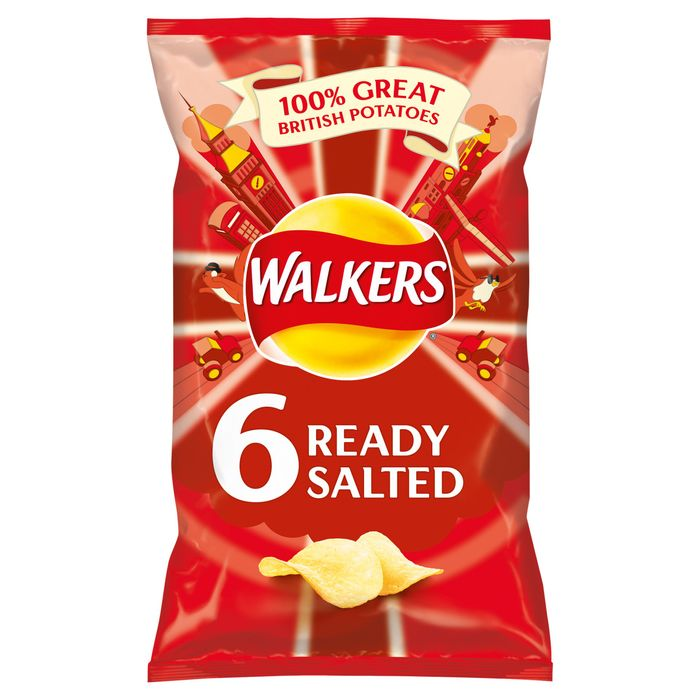Cheap Walkers Ready Salted Crisps 6X25g, reduced by £0.5!
