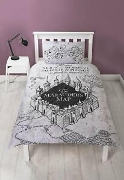 Harry Potter Marauders Map Reversible Single Bed Set £9.99 Delivered