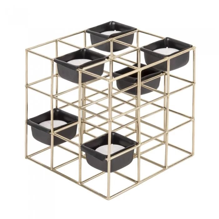 Geometric Cube Tealight Holder - Gold