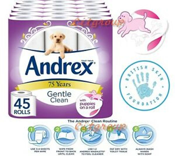 Andrex Gentle Clean Toilet Tissue 45 Rolls, Paper White, Fast & Free Shipping