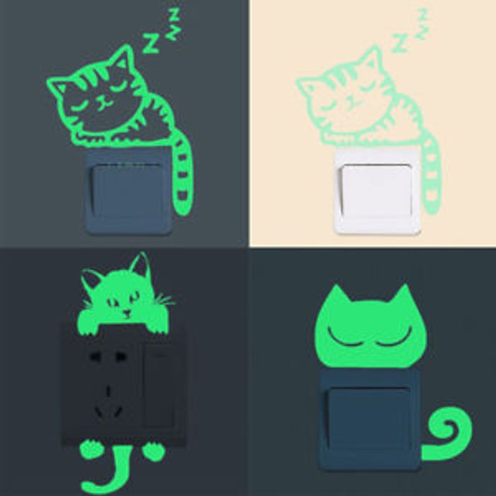Cat Switch Wall Stickers Glow in the Dark Removable Art Home Room DIY Decor