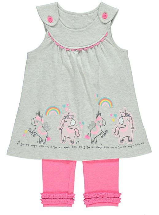 Girls Unicorn Grey Tunic and Pink Leggings Outfit at George