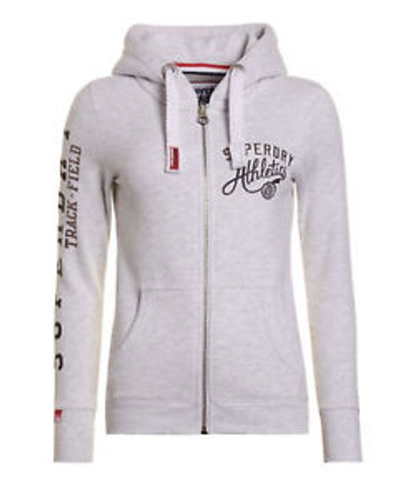 Cheap Womens Superdry Track & Field Ziphood Ice Marl (XS) with 55% Discount