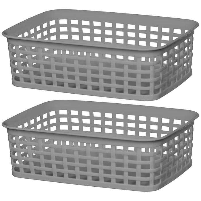 Knit Effect Mini Storage Basket 2pk - Grey