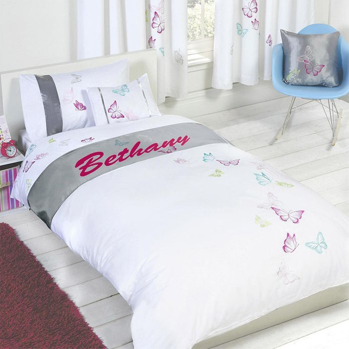 Cheap Personalised Butterfly Single Duvet Set - Bethany Only £4.99