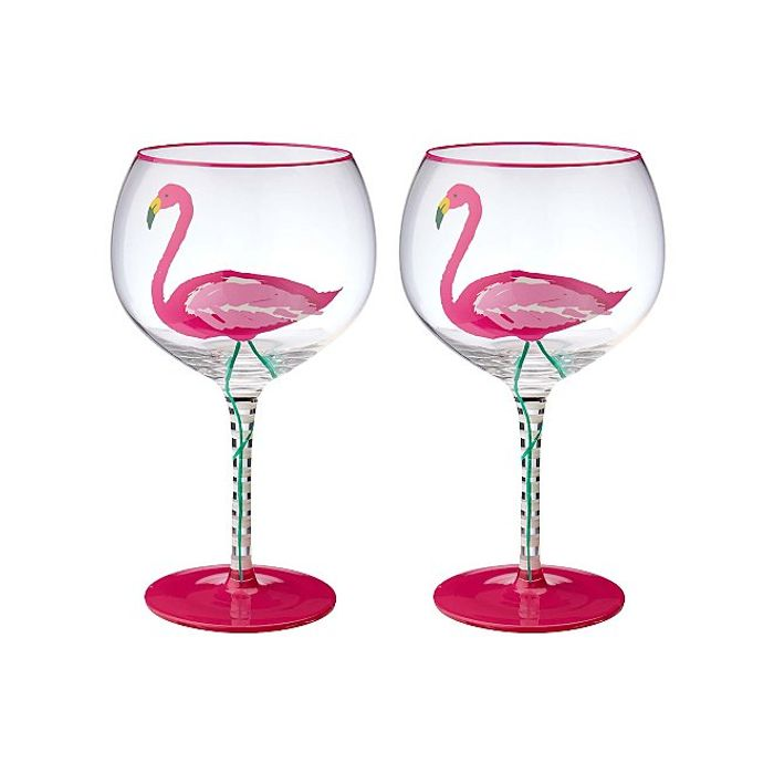Set of 2 Pink Flamingo Gin Glasses Down From £7 to £4