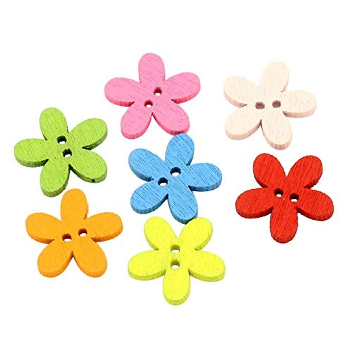 100 Wooden Multicoloured Flower Buttons Delivery £1.21