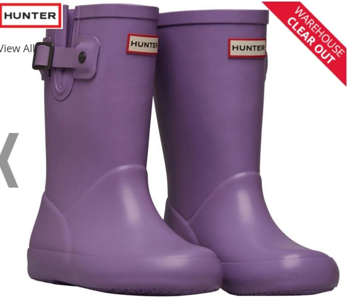 Hunter Girls Flat Sole Wellington Boots Bright Lavender Only £17.99