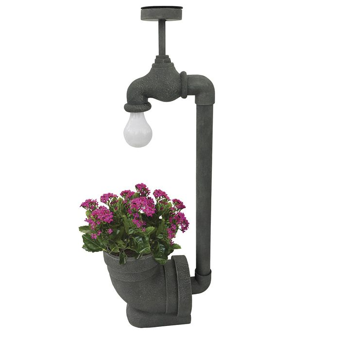 Mansion Solar Powered Tap Light with Flower Pot Holder - Grey