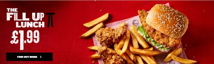 KFC Fill Up Lunch Mini Fillet Burger, 2 Hot Wings & Fries £1.99 before 3pm