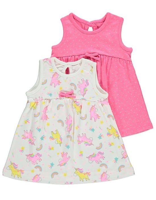 Pink Unicorn Print Sleeveless Dresses 2 Pack at George