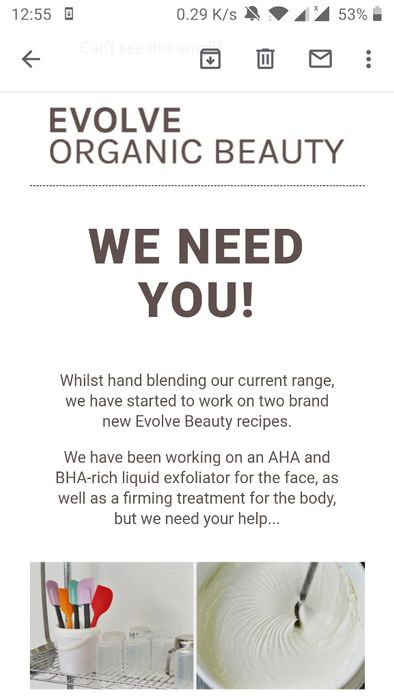 Product Testing, Evolve Organic Beauty