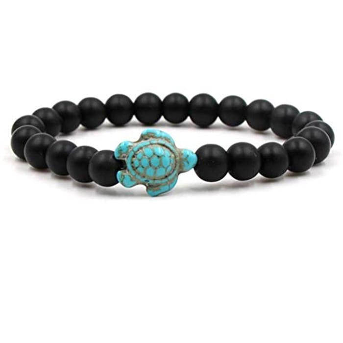 Turquoise Adjustable Elastic Beads Bracelet