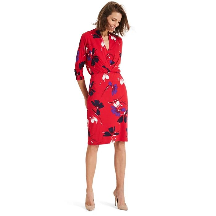 Phase Eight - Red Harper Floral Pleat Jersey Dress