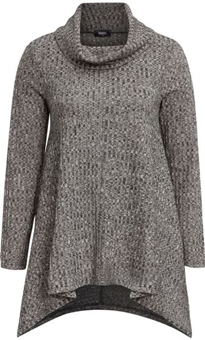 Cowl Neck Loose Knit Tunic - Grey Marl