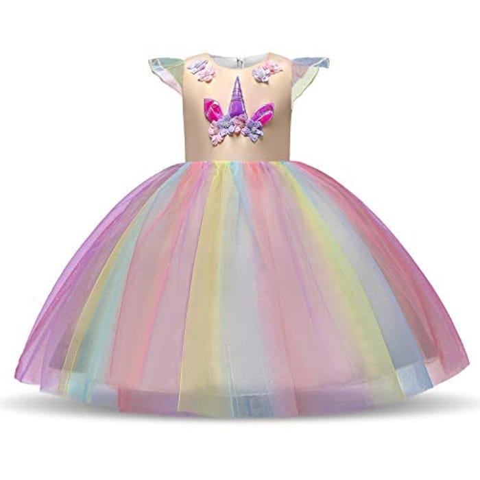 Girls Unicorn Dress Costume Age 3-10
