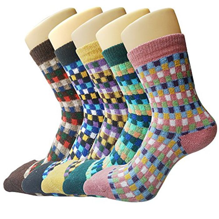 Lightning Deal! 5 Pairs Wool Womens Socks Warm Thick Crew Sock for Ladies