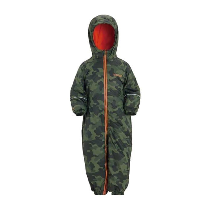 Regatta - Green 'Printed Splat' Kids Waterproof Suit Now £15